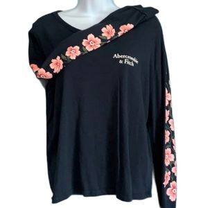 ABERCROMBIE & FITCH Floral Long Sleeve Cropped Top